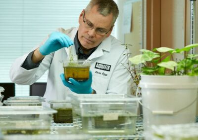 Kevin Ripp analyzing lab samples at Aquafix laboratories